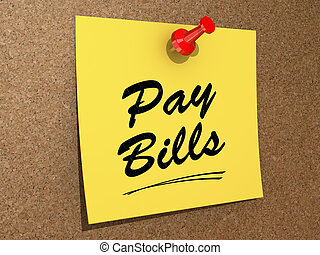 Pay Bills - A note pinned to a cork board with the text Pay...