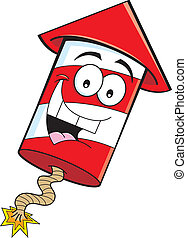 Cartoon firecracker - Cartoon illustration of a smiling...