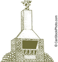 Woodcut Brick Oven - Woodcut style illustration of a brick...