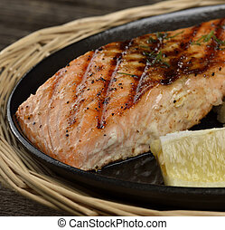 Grilled Salmon Fillet With Lemon