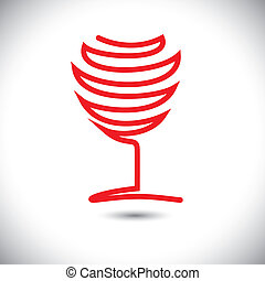 Abstract vector illustration of wine glass using red lines...