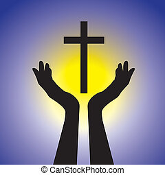Person showing faith in lord by holding holy cross- vector...