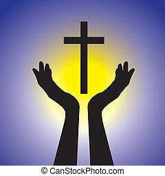 Pessoa, mostrando, fé, senhor, segurando, santissimo,...