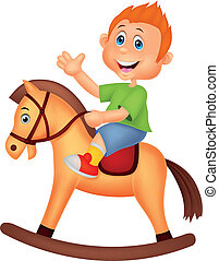 Cartoon boy riding a horse toy - Vector illustration of...