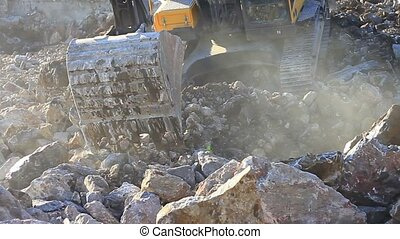 Excavator working in construction