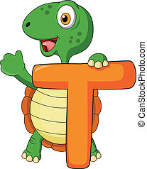 Alphabet T with turtle cartoon - Vector illustration of...