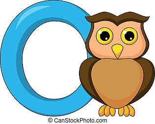 Alphabet O with owl cartoon