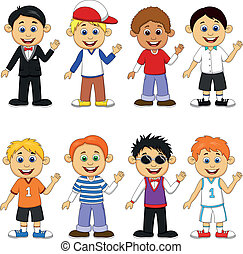 Boy cartoon collection set - Vector illustration of Boy...