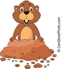 Cute groundhog cartoon - Vector illustration of Cute...