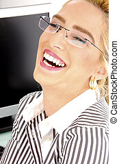 side view of pleased businesswoman