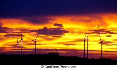 Wind turbine sunset