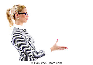 side view of woman offering handshake on an isolated white...
