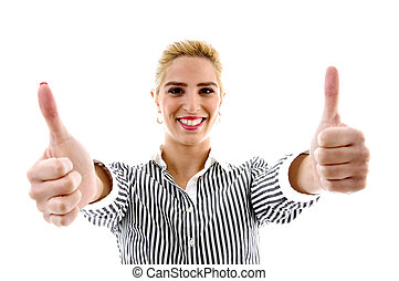 portrait of smiling female with thumbs up on an isolated...