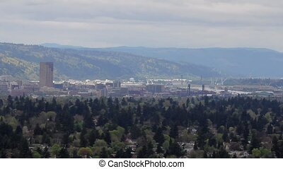 Portland Oregon City from Mt Scott - Panoramic View of...