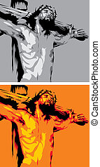 jesus - dead of jesus with crucifix - symbol of bible