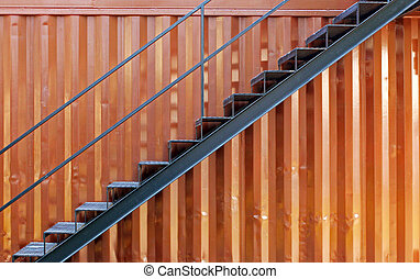 Steel stairs with cargo container
