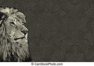 3D Sepia Toned Isolated Lion Face Card - 3D Sepia Toned...
