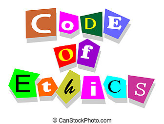Code of ethics words in collage cutouts isolated on white.