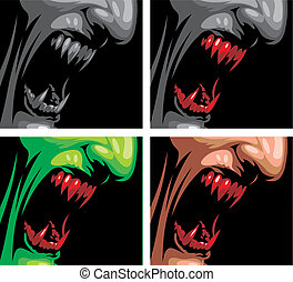detail of vampire in the different colors