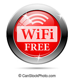 Free wifi icon with white on red background