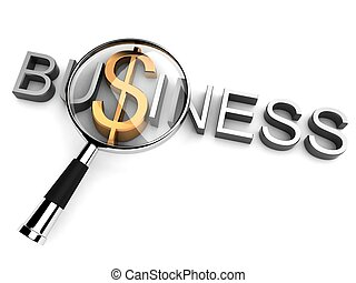business text with magnifier - 3d business text with...