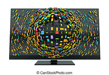 3D Television Concept Isolated - A concept of a flat screen...