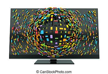 3D, televisión, concepto, aislado