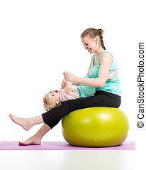 bébé, balle, gymnastique, mère,  Fitness