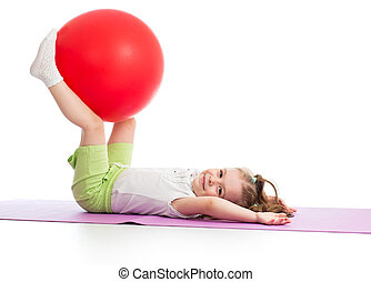 Sportive kid having fun with  gymnastic ball isolated