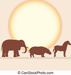 Vector card with african animals