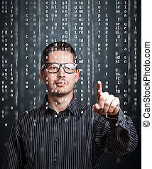 Digital concept - Business man pointing at code list on...