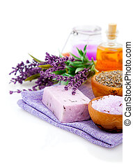 Spa treatment. Lavender bath salt, soap, oil and lavender...