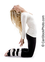 side view of woman exercising
