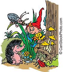 small dwarf (elf) in the czech forest (grass)