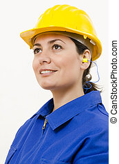 Protective Equipment - A woman wearing protective equipment