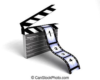 film stripes - isolated 3D film stripes on an isolated white...