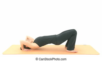 Yoga Asana in sequence: Wheel, Pose, Wheel Posture