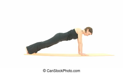 Yoga Asana in sequence: Plank, Plank Pose, Four-Limbs Staff...