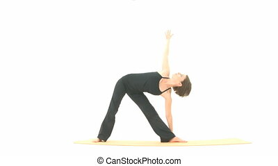 Yoga Asana in sequence: Triangle, Triangle Pose, Extended...