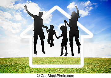Black silhouette of family jumping in the air