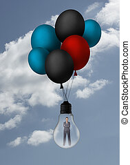 Businesswoman inside light bulb held by balloons in the sky...