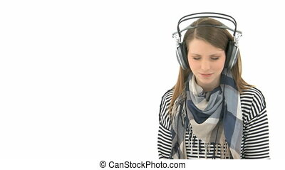 Woman listening to music - Beautiful woman listening to...