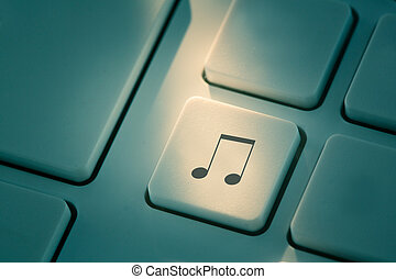 Black music note button on keyboard - Black music note...