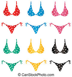 Dotted bikini - A selection of polka dotted bikini bathing...