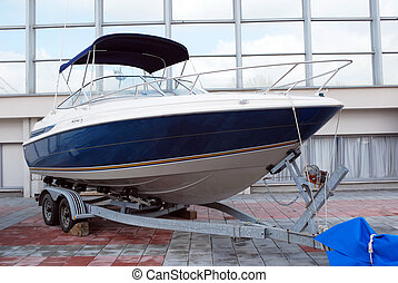 fast luxury boat ready for transport