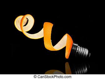 Orange peel and light bulb