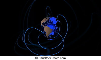 Blue earth spinning with lines emulating from it animation...