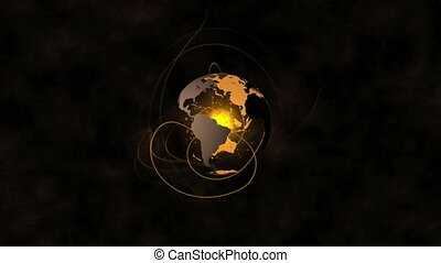 Orange earth spinning with lines emulating from it animation...