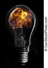 Flame inside light bulb
