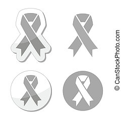 Silver ribbon signs - Silver ribbons set isolated on white...